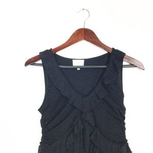 Deletta Black Stretch Ruffle& Ruched Blouse